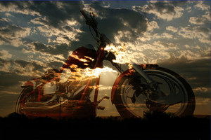 Sky over motorcycle