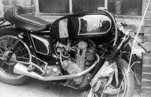 1955 7R AJS after a crash at IOM TT