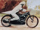 Old motorcycle postcard