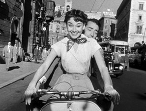 audrey hepburn and gregory peck on vespa in roman holiday