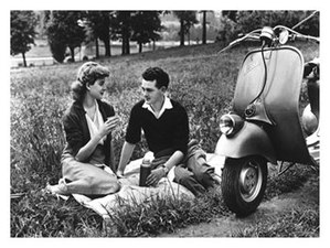 vespa piaggio romance on the grass