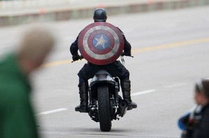 Captain America on Motorbike