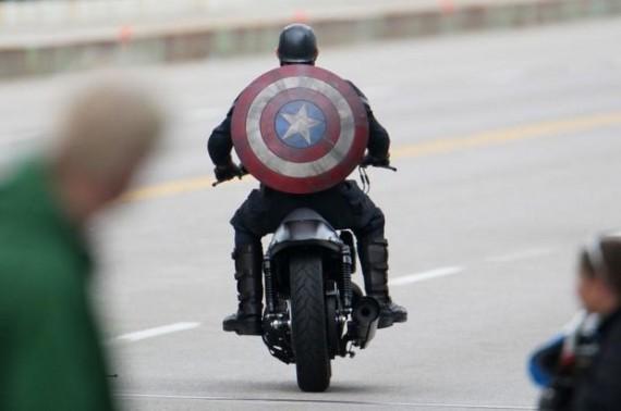 Captain America on Motorbike